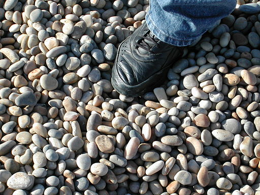 Chesil Stones with shoe for scale