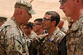 Chief of Staff of the U.S. Army Gen. Raymond T. Odierno, left, presents the Purple Heart medal to Spc. Thomas Wirthlin during a ceremony at Forward Operating Base Azzizullah in Kandahar province, Afghanistan 130807-A-VM825-026.jpg