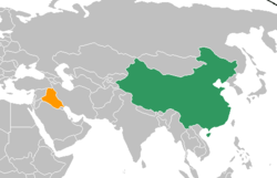 Map indicating locations of China and Iraq