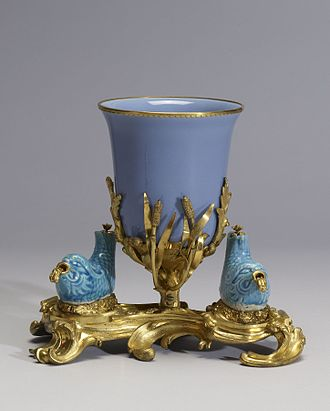 Ormolu - Bowl Mounted with Two Fish.  Porcelain with glaze monochrome turquoise/light blue and French ormolu mounts. The Walters Art Museum.