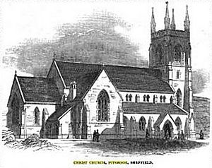 Christ Church, Pitsmoor - Christ Church on completion in 1850.