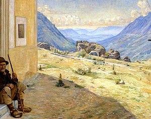Poul Simon Christiansen - Image: Christiansen Sydeuropæisk bjerglandskab med hyrde i forgrunden 1905