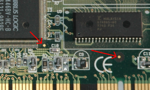 Fiducial marker - Fiducial marker for a chip to the right and the whole PCB beneath