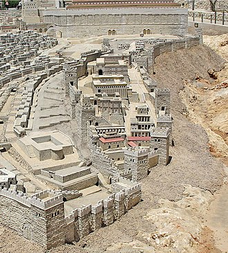 City of David - The Biblical City of David in the period of Herod's Temple, from the Holyland Model of Jerusalem. The southern wall of the Temple Mount appears at top.