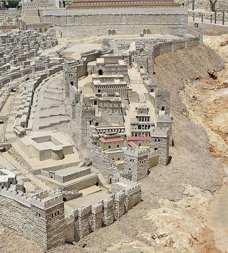 La Cité de David dans les jours de Temple d'Hérode, Modèle de la Terre Sainte (Jérusalem) dans images sacrée 800px-City_of_David