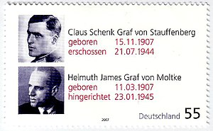 Hans Bernd Gisevius - A German stamp of Stauffenberg and Helmuth James Graf von Moltke in commemoration of their 100th birthdays.