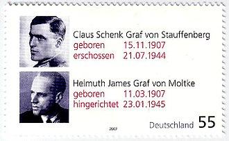 Kreisau Circle - A German stamp of Stauffenberg and Helmuth James Graf von Moltke in commemoration of their 100th birthdays