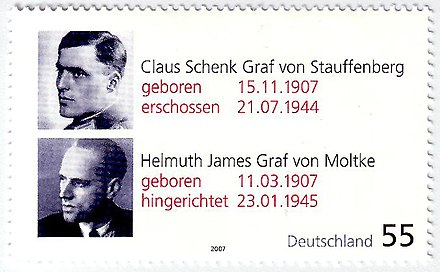 A German stamp of Claus Philipp Maria Schenk Graf von Stauffenberg and Helmuth James Graf von Moltke in commemoration of their 100th birthdays Claus Schenk Graf von Stauffenberg - Helmuth James Graf von Moltke.jpg
