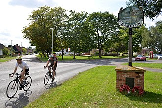 Rampton, Cambridgeshire - Rampton village sign and green in July 2014