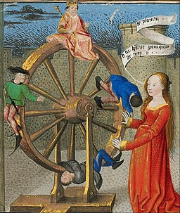 Coëtivy Master (Henri de Vulcop?) (French, active about 1450 - 1485) - Philosophy Consoling Boethius and Fortune Turning the Wheel - Google Art Project