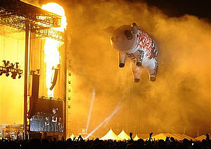 Pink Floyd pigs - The giant inflatable pig of The Dark Side of the Moon Live tour at Coachella Music Festival on April, 2008.