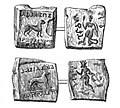 Coins of Agathocles and Pantaleon used for the decipherment of the Brahmi script.jpg
