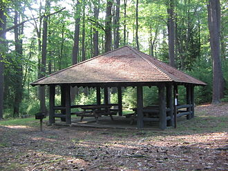 Colton Point State Park - Picnic shelter 2 was built by the CCC and is one of five at the park listed on the NRHP.