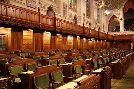The governing party sits to the Speaker's right in the House of Commons. Commons-seats.jpg