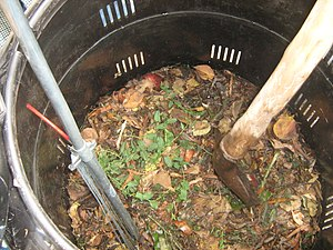 Compost - Home compost barrel in the Escuela Barreales, Santa Cruz, Chile