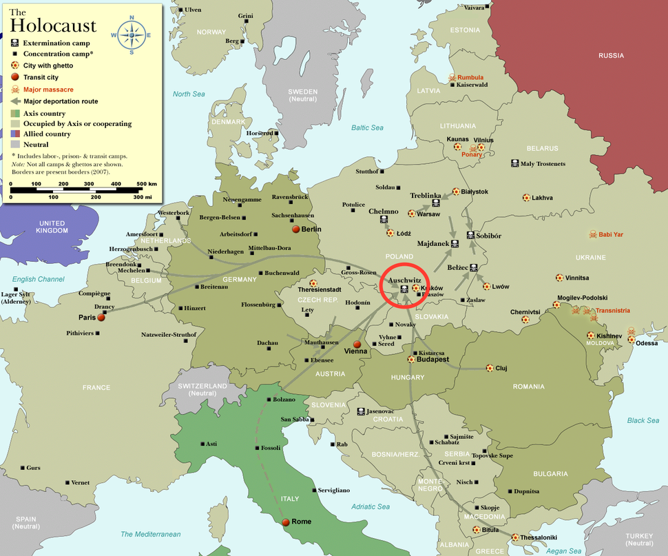 Concentration camps in occupied Europe (2007 borders)