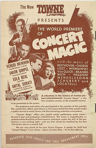 Concert film - Poster for Concert Magic in 1948 at the Towne Cinema in Toronto, Canada