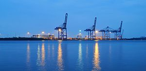Cochin Port - Evening view of International Container Trans-shipment Terminal (ICTT)
