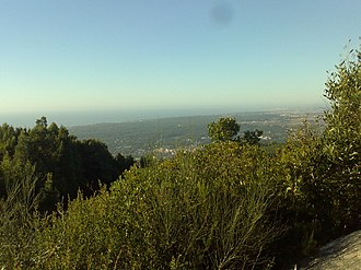 Convent of the Capuchos (Sintra) - The view from the Sintra Mountains towards the Atlantic coast alongside the convent