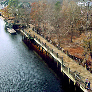 Conway, South Carolina - The Conway marina, seen from the Waccamaw River Bridge