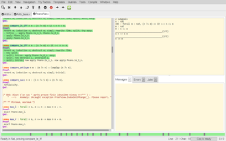 Coq - An interactive proof session in CoqIDE, showing the proof script on the left and the proof state on the right.