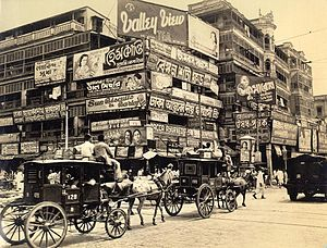 Cities and towns in West Bengal - Image of Harrison Street Strand Road and Burra Bazaar in Kolkata (Calcutta) in 1945, shortly before the urban expansion of West Bengal