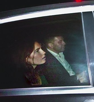 Italy–USA Foundation - Amanda Knox leaving the prison in Perugia in a car with Corrado Maria Daclon, secretary general of the Italy–USA Foundation (2011).