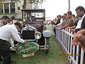 Crank-strating the '1908 Wolseley landaulet' at Mahalaxmi race-course in Mumbai..JPG
