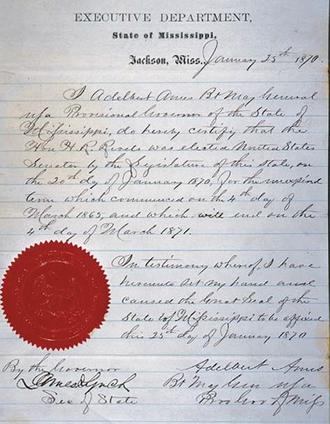 Hiram Rhodes Revels - Letter dated January 25, 1870 from the Governor of the State of Mississippi and the Secretary of State of Mississippi that certified the election of Hiram Revels to the United States Senate.