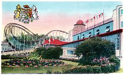 Cyclone coaster and exterior Crystal Ball Room Crystal Beach Ontario postcard cropped.JPG