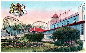 Crystal Beach, Ontario - Postcard image of the Cyclone, next to the Crystal Ball Room, circa 1930s.