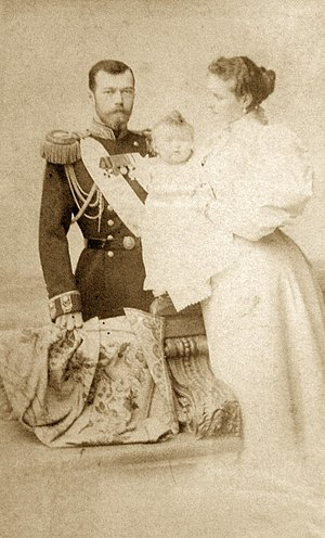 Sergey Lvovich Levitsky - Czar Nicholas II, Empress Alexandra, and daughter Olga. by Sergei Lvovich Levitsky.(1896) The Di Rocco Wieler Private Collection, Toronto, Canada