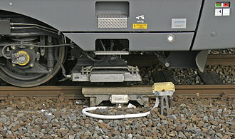 Punktförmige Zugbeeinflussung - trackside resonator (below) and train-born generator / reader (above)