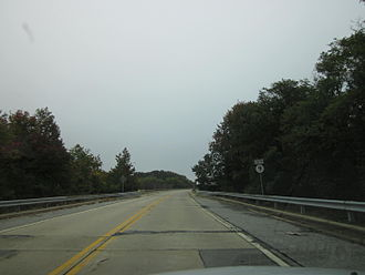 Delaware Route 9 - DE 9 southbound heading onto the Reedy Point Bridge in Delaware City