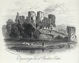 Rhuddlan Castle - The overgrown ruins of Rhuddlan Castle in the mid 19th-century