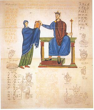 Poland - Earliest known contemporary depiction of a Polish ruler. King Mieszko II Lambert of Poland, who ruled between 1025 and 1031, being presented with a Liturgical book by Matilda of Swabia.