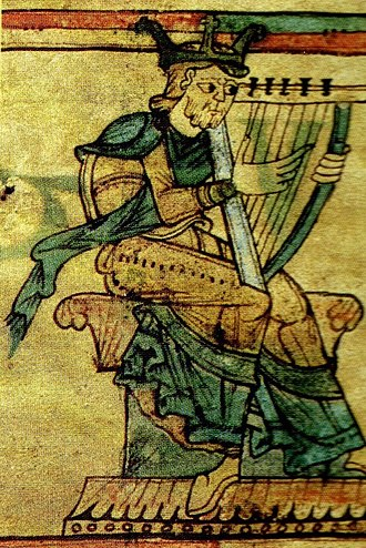 Nitzevet - A depiction of David with a harp from the 11th century, the Gospel Book in National and University Library in Zagreb