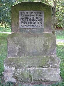 Der 1808 aufgestellte Gedenkstein für Louis Ferdinand (Quelle: Wikimedia)