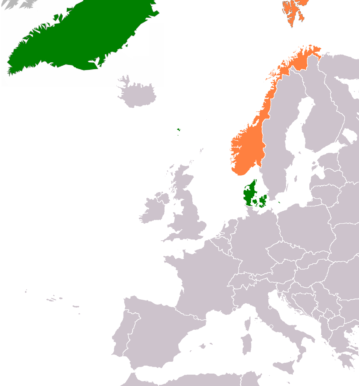 DenmarkNorway Relations Wikipedia - Norway map world