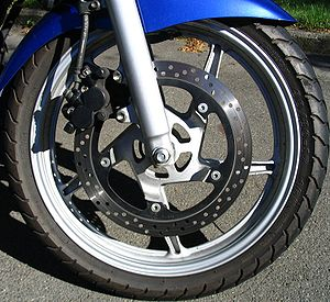 Disc brake on a motorcycle.