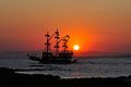 Disco ship in sunset at Side, Turkey (5949597419).jpg
