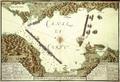 Disegno topografico del canal di Corfu con la serie del attacco infruttuoso dell Nemici Ottomanni , 1716.png