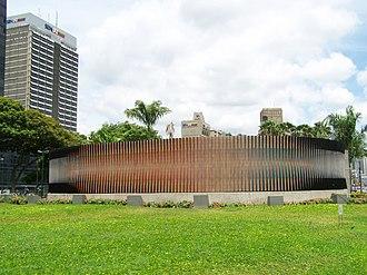 Plaza Venezuela - Double Fisicromia of Carlos Cruz-Diez