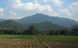 Doi Ian mountain rising roughly 12 km east of Thoeng