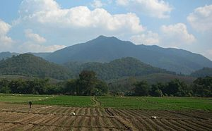 Thoeng District - Doi Ian mountain rising roughly 12 km east of Thoeng