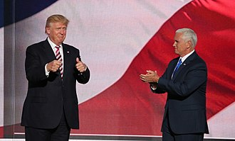 Candidate Trump and running mate Mike Pence at the Republican National Convention, July 2016 Donald Trump and Mike Pence RNC July 2016.jpg