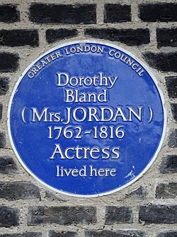 Photo of Dorothea Jordan blue plaque