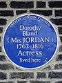 Dorothy Bland (Mrs Jordan) 1762-1816 Actress lived here.jpg