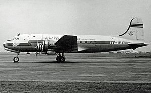 Icelandair - The first Flugfélag Íslands Douglas DC-4, dubbed Gullfaxi, arriving at London Heathrow Airport in June 1953