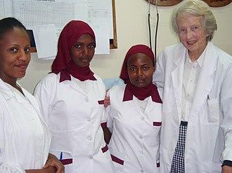 Catherine Hamlin - Three trainee midwives with Catherine Hamlin at the Hamlin Fistula Hospital